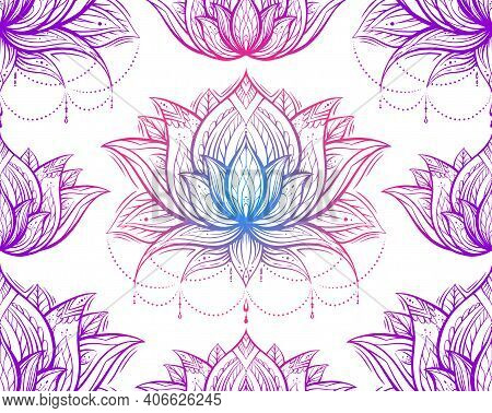 Tribal Neon Contour Pattern With Lotuses With Decoration. Monochrome Spiritual Wallpaper. Water Lili