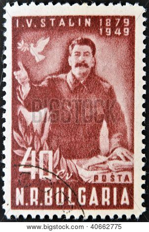 BULGARIA - CIRCA 1949: Stamp printed in Bulgaria shows Joseph Stalin circa 1949