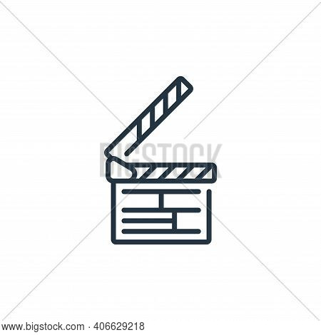 clapperboard icon isolated on white background from fame collection. clapperboard icon thin line out