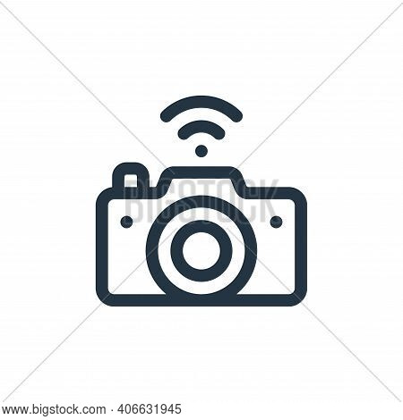 camera icon isolated on white background from internet of things collection. camera icon thin line o