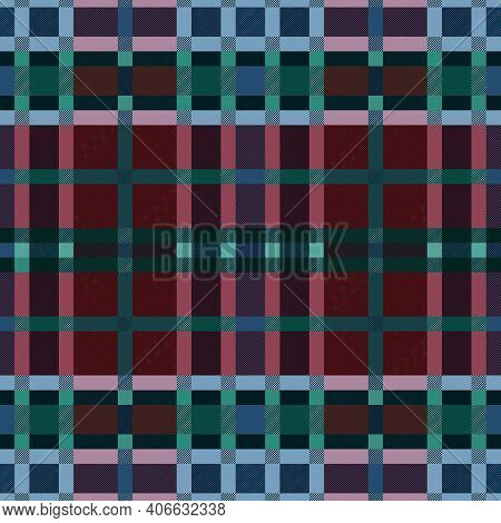 Tartan Scottish Seamless Pattern In Muted Red, Blue, Turquoise And Green Colors, Texture For Flannel