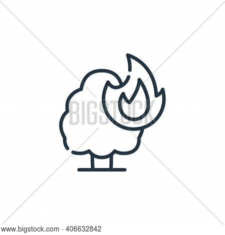 burning tree icon isolated on white background from climate change collection. burning tree icon thi