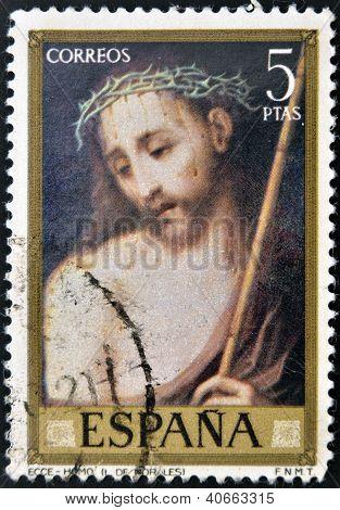 SPAIN - CIRCA 1970: A stamp printed in Spain shows Ecce Homo painting by Luis de Morales circa 1970