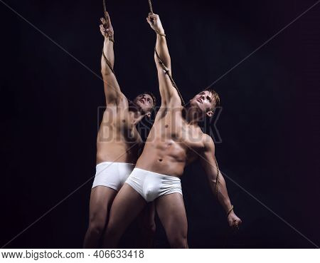 Muscular Sexy Guys With Naked Torso. Hunks With Athletic Body. Two Caucasian Men Twins In Same Pose