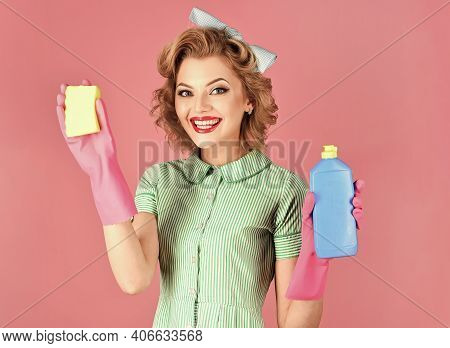 Quality Home Cleaning, Housewife. Pop Art Retro. Professional Service. House Cleaning Service. Clean