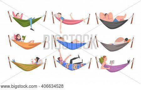 People Characters Resting In Hammock Reading Book And Sleeping Vector Illustration Set