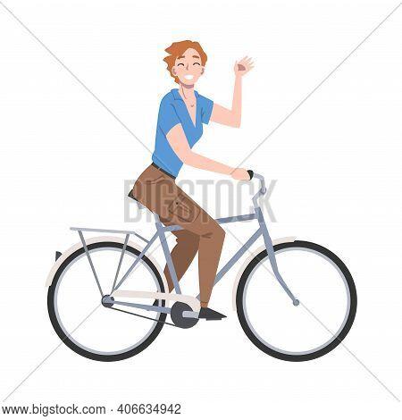 Joyous Woman Riding Bicycle And Waving Hand Enjoying Vacation Or Weekend Activity Vector Illustratio
