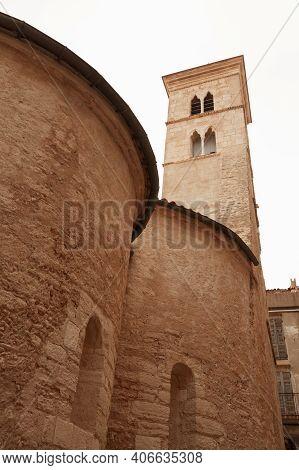 Eglise Sainte-marie-majeure De Bonifacio. It Is A Church In Old Town Of Bonifacio, Corsica. Vertical