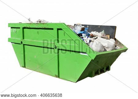 Green Skip (dumpster) For Municipal Waste Or Industrial Waste, Isolated On White Background