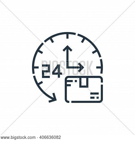 hour clock icon isolated on white background from delivery collection. hour clock icon thin line out