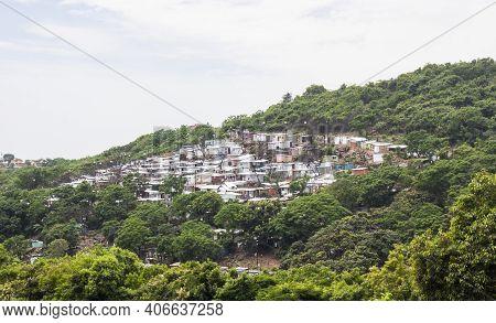 Shacks Of An Infrmal Settlement Built On A Hill, South Africa