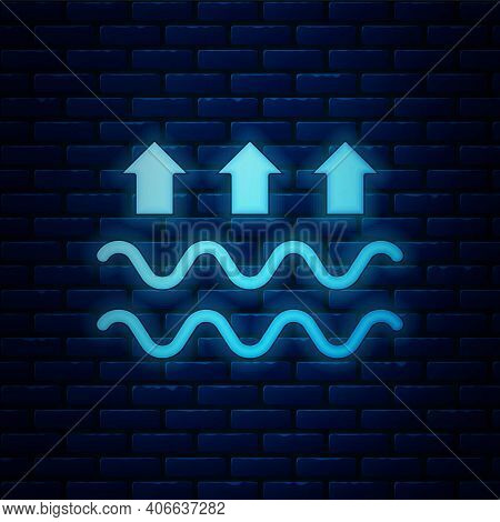 Glowing Neon Waves Of Water And Evaporation Icon Isolated On Brick Wall Background. Vector