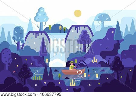 Vector Cartoon Panorama Illustration In Flat Cartoon Stile - Fisherman With A Fishing Rod In The Boa
