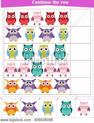 Logic Game For Children. Continue A Row Of Owls Worksheet . Vector Illustration