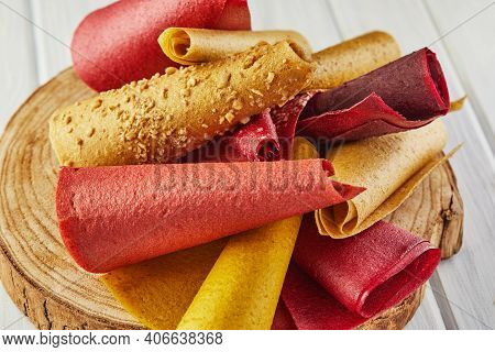 Sweet Pure Fruit Pastille In Rolls. Healthy Sweets - Lozenges, Fruit Chips. Natural Sweets From Berr