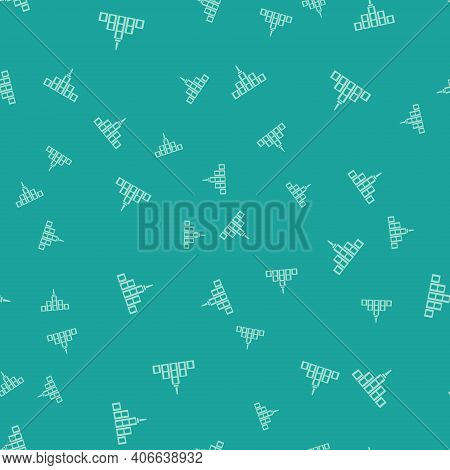 Green City Landscape Icon Isolated Seamless Pattern On Green Background. Metropolis Architecture Pan