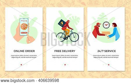 Order Food Online Mobile App Banner Set. Chooses Pizza On Smartphone Screen Template. Express Free B