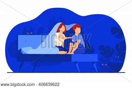 Children Covering With Blanket On Bed Isolated Flat Vector Illustration. Cartoon Afraid Girl And Boy