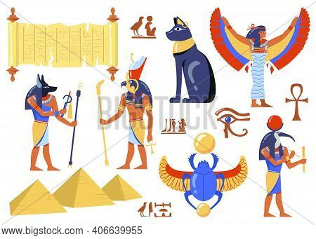Egyptian Mythology Characters Set. Ancient Egypt Symbols, Cat, Iris, Papyrus, Deities With Birds And