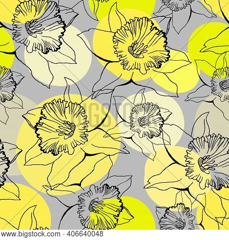 Trendy Colors Seamless Pattern With Black Outline Flowers With Yellow Circles On Gray Background. Sp