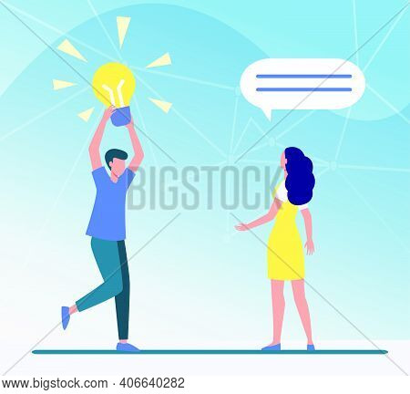 Guy Sharing Brilliant Idea With Friend, Girlfriend Or Colleague. Man Holding Shining Lightbulb Flat