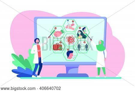 Multinational Doctors Presenting Coronavirus Infographics. Scientists, Research Result, Social Dista