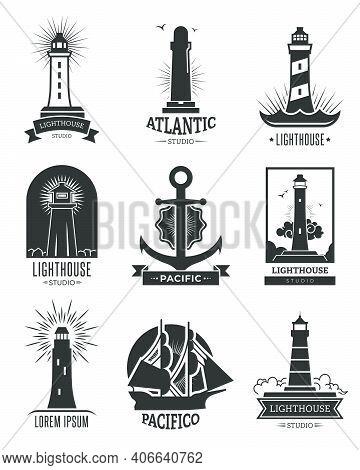 Nautical Shipping Logo Set. Isolated Monochrome Illustrations Of Lighthouses, Anchor And Ship. For M
