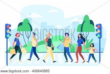 Pedestrians Walking Across Street. People Crossing Road At Traffic Light. Vector Illustration For Cr