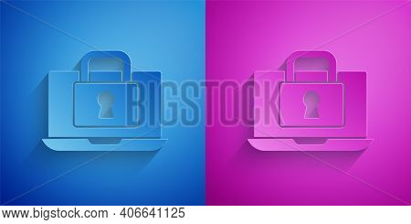 Paper Cut Laptop And Lock Icon Isolated On Blue And Purple Background. Computer And Padlock. Securit