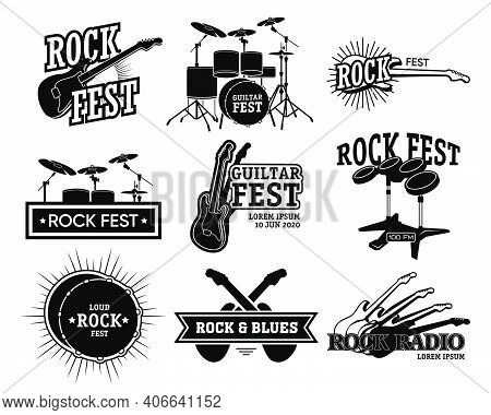Rock Music Retro Emblem Collection. Monochrome Isolated Illustrations Of Guitar And Drums, Rock Fest