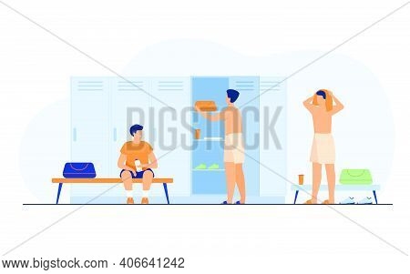 School Locker Room Isolated Flat Vector Illustration. Cartoon Football Or Soccer Team Changing Cloth