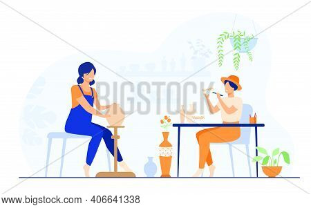 Smiling Female Artists Creating Ceramic Vase From Clay Isolated Flat Vector Illustration. Cartoon Ce