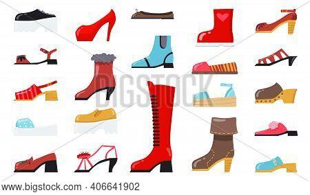 Various Fashionable Footwear Flat Icon Set. Cartoon Stylish Elegant And Casual Shoes, Seasonal Boots