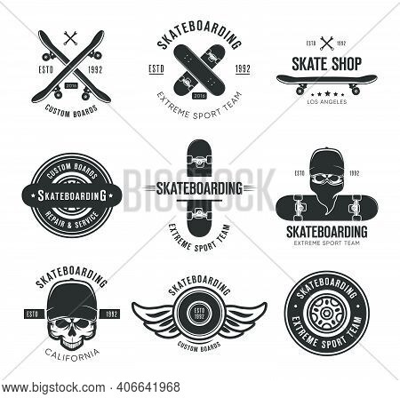 Vintage Skateboarding Tattoo Flat Emblems Set. Black Monochrome Labels Or Signs With Skateboard And