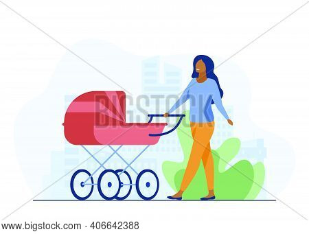 Young Mother Walking With Baby Carriage Along Street. Mom, Infant, Motherhood Flat Vector Illustrati