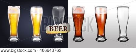 A Set Of Photos Of Realistic Beer Mugs Isolated On A Transparent Background. One Empty Mug And One F
