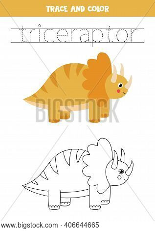 Trace Word Trice Raptor And Color The Dinosaur.