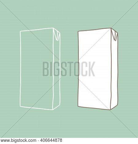 Blank Carton Juice  Milk Pack. Outline Vector Realistic. Clean Empty Carton For New Design.