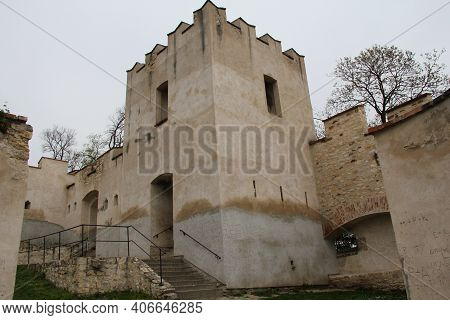 Prague, Czech - April 24, 2012: This Is A One Of Watch Towers Of A Well-matured Medieval City Fortif