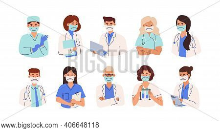 Set Of Doctors, Nurses And Paramedics In Face Masks. Portraits Of Male And Female Medic Workers In U