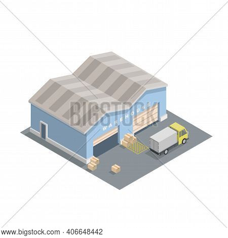 Vector Isometric Illustration Of Warehouse Building With Cargo Car And Boxes. Warehouse Exterior. Wa