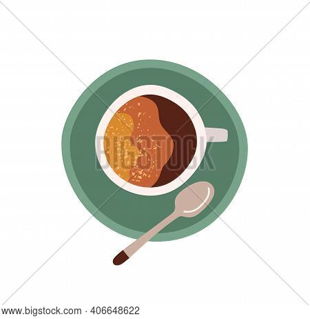 Top View Of Cup With Saucer And Tea Spoon. Coffee Break Icon. Colored Flat Vector Illustration Of Am