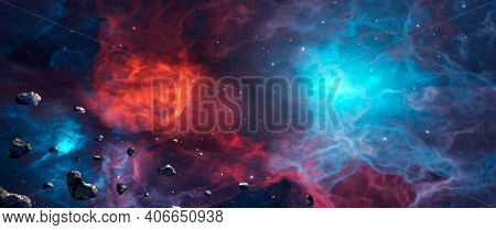 Panoramic Space Background. Asteroid Fly In Colorful Nebula With Stars. Digital Painting. 3d Renderi