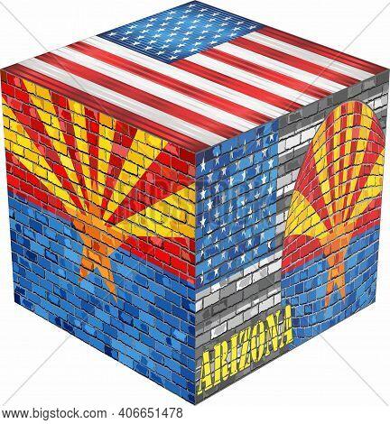 Arizona Cube - Illustration,  Abstract Grunge Mosaic Flag Of Arizona