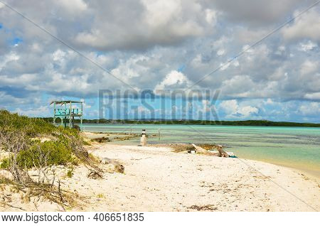 Lifeguard Chair Am Beautiful Beach On The Caribbean Island Of Bonaire, Good Snorkel Dive Site On The