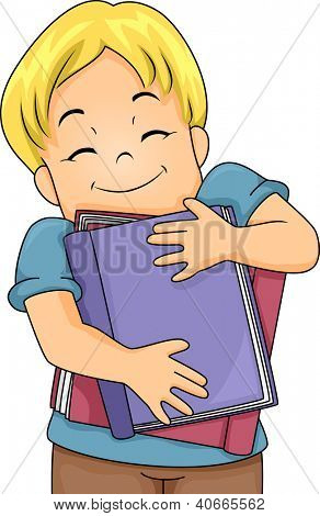 Illustration of a Happy Boy Hugging Large Books