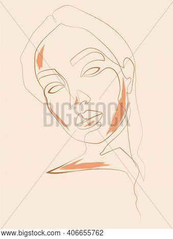 Abstract Portrait Of A Girl From A Continuous Line With Orange Accents On Her Face. Illustration For