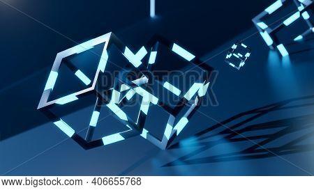 3d Render Of Blochain Cobes In Neon Blue Light. Big Data Concept. Artificial Intellegence. Abstract