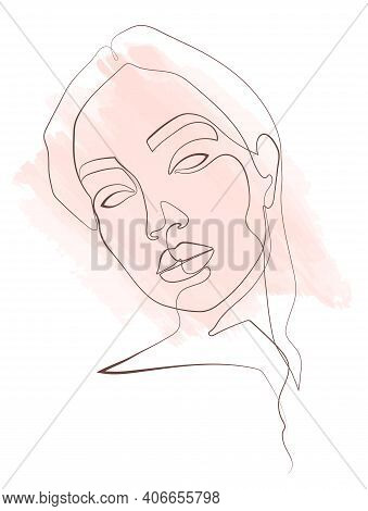Abstract Portrait Of A Girl From A Continuous Line With A Delicate Watercolor Accent In The Backgrou