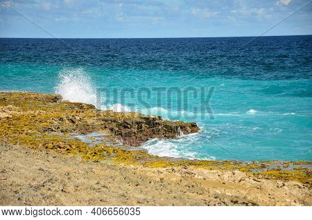 Beautiful Beach On The Caribbean Island Of Bonaire, Snorkel Dive Site. Enjoy The Relaxation In The S
